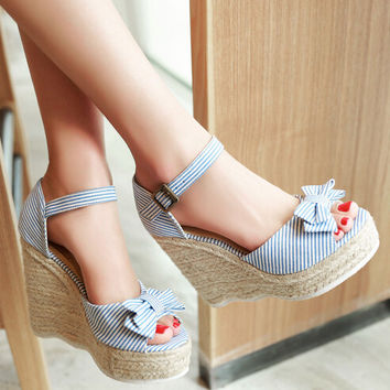 2014 Best Selling Summer Strappy Cross Casual Wedge Sandals For Women Stripe Red Blue Lady Korean Cute Sandals Shoes Crochet
