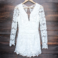 sunday picnic floral crochet romper in white