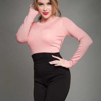 Perfect Pullover Sweater in Peach Pink