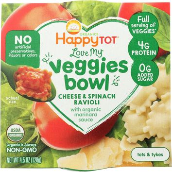 HAPPY BABY: Cheese and Spinach Ravioli Bowl, 4.5 OZ