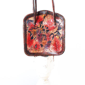 Fashion Handbag Vintage leather purse Tooled Hand Painted leaf Purse hippie purse Southwestern Floral Leather purse Handbag Tote bag EPSTEAM