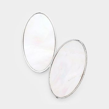 Oval Mother Of Pearl Metal Earrings