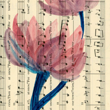 Artists Watercolor Flower Painting on Vintage Sheet Music Paper, Ready to Frame 4x6 Origonal Floral Paintings on Old Fashioned Sheet Music