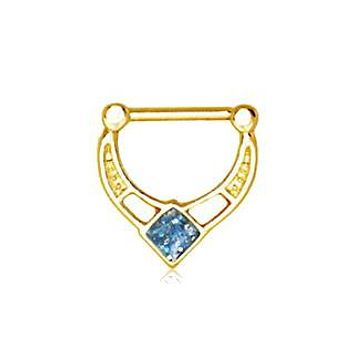 Gold Plated Blue Epoxy Rhombus Septum Clicker