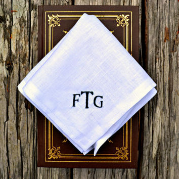 Monogrammed White Linen Pocket Square, Personalized Hankerchief, White Initials Hankie, Irish Linen Monogram Pocket Square, Mens Hankerchief
