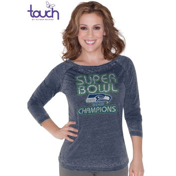 Touch by Alyssa Milano Seattle Seahawks Super Bowl XLVIII Champions Ladies Boat Neck Long Sleeve T-Shirt - Black