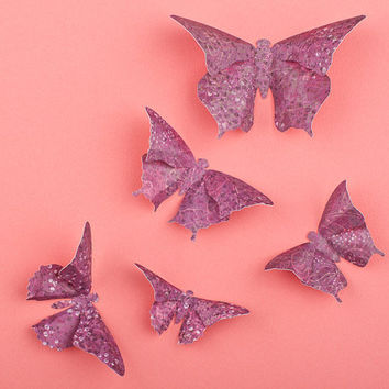 3D Butterfly Wall Art: 10 Grape Dots Paper Butterflies for Wall Decor, Nursery, Children's Room