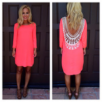 Neon Coral Embroidered Baby Got Back Dress