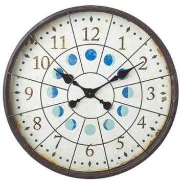 Distressed Nautical Porthole Extra Large Wall Clock with Moon Phases - 23-in