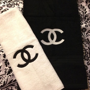 Chanel Inspired Embroidered Black and White Towels Set Of 2 - Extra Large Bath Towel And Hand Towel