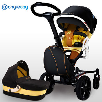 New Arrival High Landscape Baby Stroller 2 in 1, Pushchair Plus + Carrycot, Fashion Folding Baby Pram, Baby Trolley