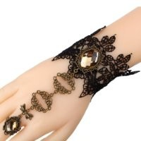 Yazilind Black Lace Slave Bracelets with Ring Lolita Sexy Brown Crystal Bow Metal