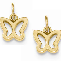 14k Yellow Gold Butterfly Hoop Earring Charms