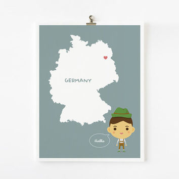 Personalized Children Decor Custom Germany Map with by loopzart