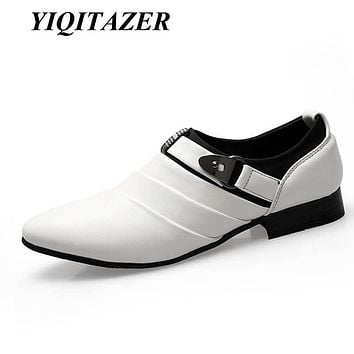 YIQITAZER 2017 Hot Sale White Black Casual Dress Men Shoes Leather,Slip-on Pointed-Toe Derby Shoes Man Autumn Spring