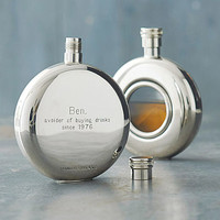 Personalised Round Window Hip Flask