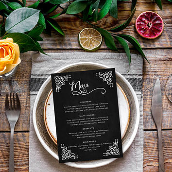 Chalkboard menu template, Printable wedding menu cards template, Menu chalkboard cards, Wedding menu template, Instant download editable PDF