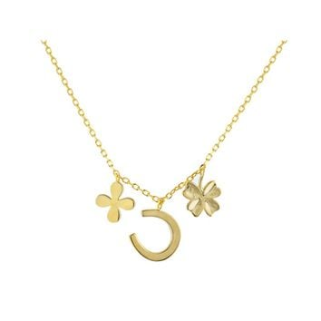 "14k Gold Plated Sterling Silver Four Leaf Clover & Horseshoe Multi-Charm Pendant Necklace, 17"" Long"