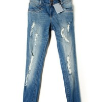 Distressed Fitted Jeans - OASAP.com
