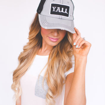 Y'all Hat- Grey/Black