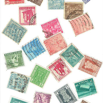 25 Vintage India Postage Stamps Supplies Scrapbook Art Cards Stationery Decoration Decoupage Note Cards Journal Box World Travel Journal