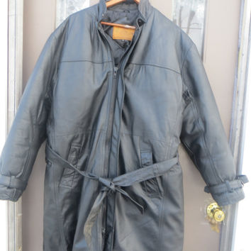 VINTAGE 80s  Troop super goose down black leather mens trench coat with goose down puffer lining w belt   sz med    unisex
