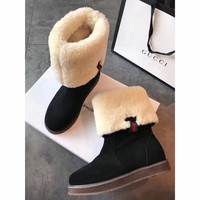 Best Online Sale Gucci Snow Wool Boots Black Women Gaotong Boots Thickened Flat Shoes