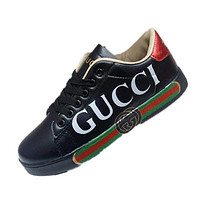 GUCCI men's and women's non-slip flat casual sports shoes Black+white letters