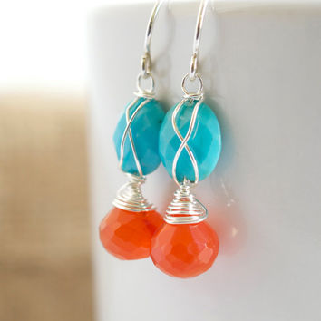 Carnelian and Turquoise Dangle Earrings, Turquoise Dangle Earrings, Delicate Jewelry, Mother's Day Gifts