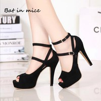 Sexy women Classics Ankle Strap pumps Party Dress shoes women Formal Casual Peep Toe High Heels Office Career shoes mujer W376