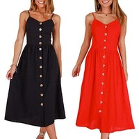 Women Solid Color Button Halter Sexy Party Beach Dress