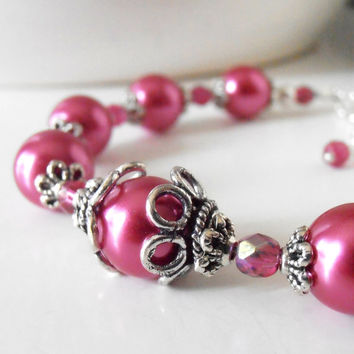 Magenta Bridesmaid Jewelry Raspberry Pearl Bracelet in Antiqued Silver Vintage Style Wedding Jewelry Dark Pink Bridesmaid Sets