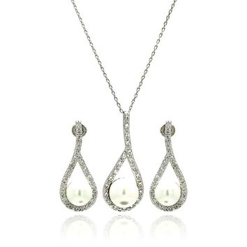 Rhodium Plated Brass Pearl Teardrop Clear Cubic Zirconia Hanging Stud Earring & Necklace Set: SOD