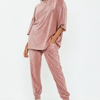Missguided - Rose Slim Leg Velour Joggers