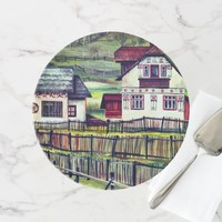 Transylvania, Romania, Picturesque Painted Scenery Cake Stand