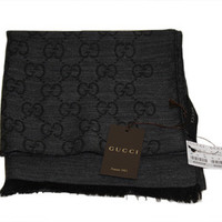 GG Logo Gucci Charcoal Wool & Cashmere Scarf