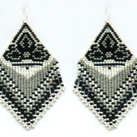 Extra Large Earrings. Native American Beaded Earrings Inspired. White and Gray Earrings. Beadwork