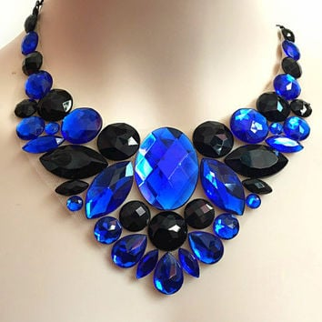 royal blue and jet black bib rhinestone necklace, wedding, bridesmaids, prom necklace, gift or for you NEW