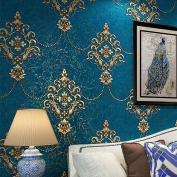 European Style Luxury Damask Wallpaper Roll 3D Embossed Non-woven Thickened Paper Wall Decor Wallpapers For Living Room Bed Room