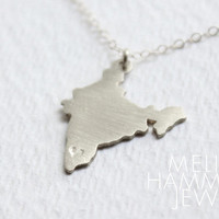 Sterling India Necklace // Handmade Silver India Charm // Great Gift // Wear Where You Love // India Pendant