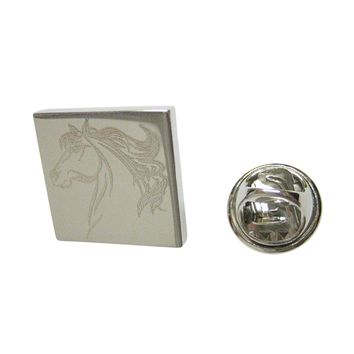 Silver Toned Etched Wild Horse Head Lapel Pin