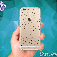Black Dot Pattern Design Case For iPhone 5 iPhone 5C iPhone 6 iPhone 6s iPhone 6s Plus and iPhone SE iPhone 7 Plus Clear Case