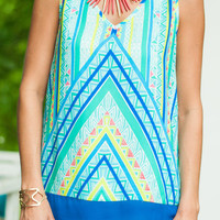 Straight To The Top Tank, Turquoise