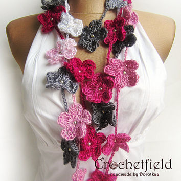 Crochet Flower Multicolored Lariat Scarf Necklace, Crochet Wrap Beaded Lariat Jewellery, Gift for Her, crochet flower, Rainbow