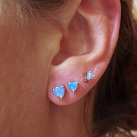 Light Blue Heart Fire Opal Post Earrings