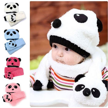 Baby Toddler Infant Unisex Girl Boy Baby Hat Cap Beanie + Scarf Panda Cartoon two piece set 18499 = 1958017220