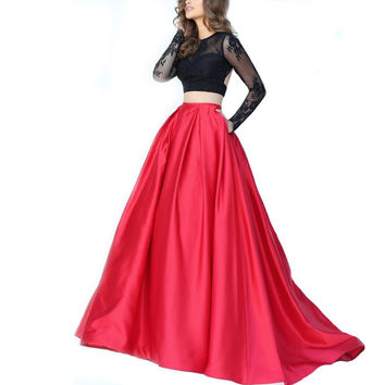 Fashion O-Neck Long Sleeves Long Prom Dresses Ball Gown Sexy Backless 2 Piece Prom Dress 2016 Lace Top Evening Party Dress