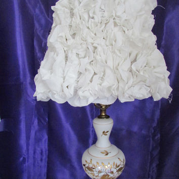 SALE Linen ruffled lamp/ Off white lamp shade