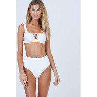 Erin Lace Up Front Bikini Top - Marshmallow Rib