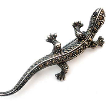 Sterling Silver Gecko Brooch with Marcasites Vintage